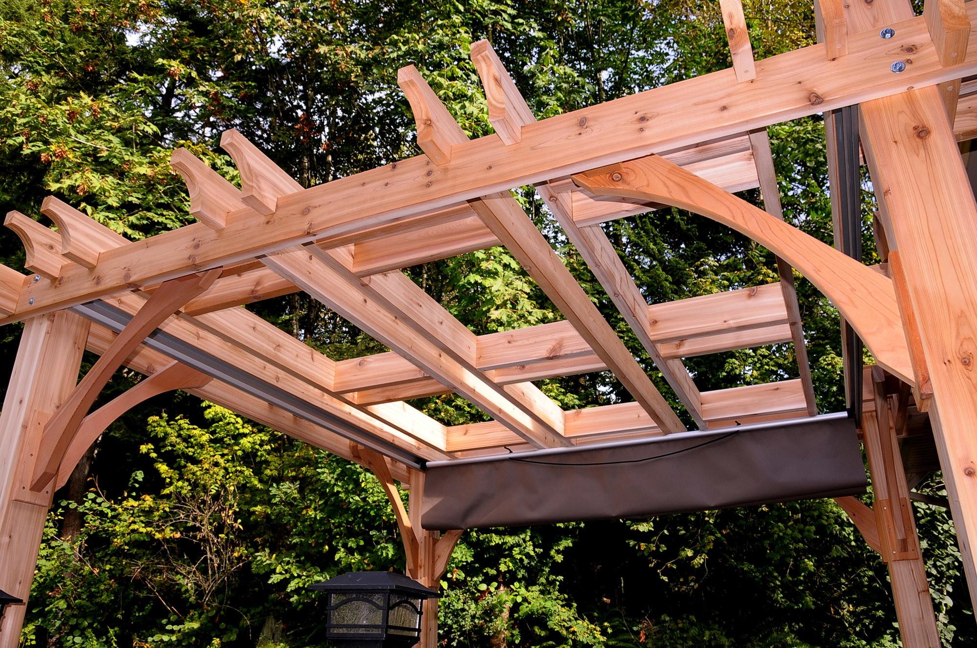 10103807 kontiki wooden pergolas 8x8 spa breeze for Wooden pergola with shade