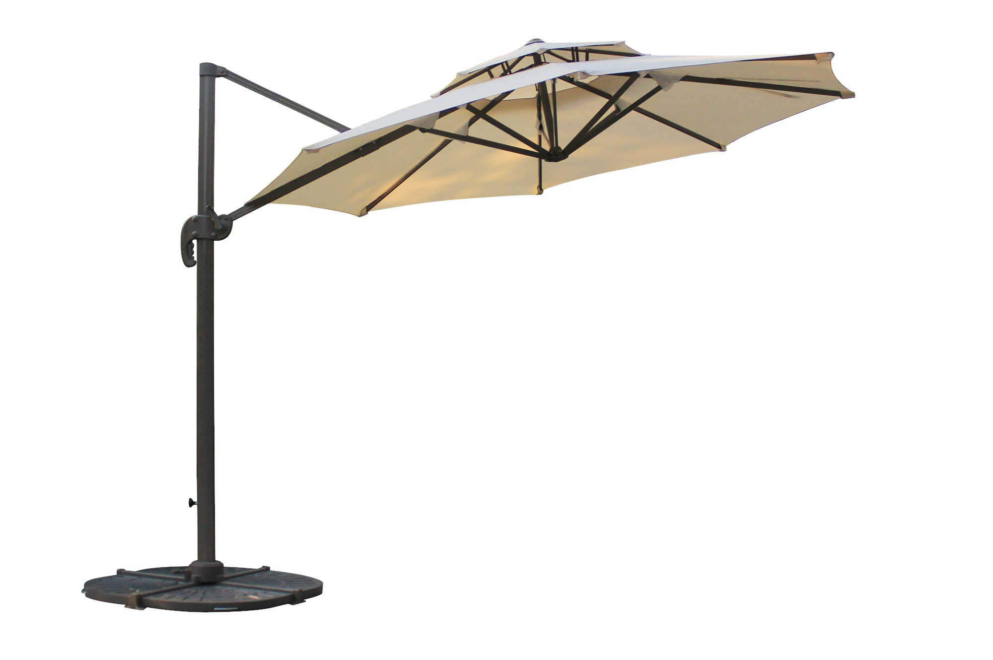 Kontiki Shade Amp Cooling Offset Patio Umbrellas 10 Ft Round