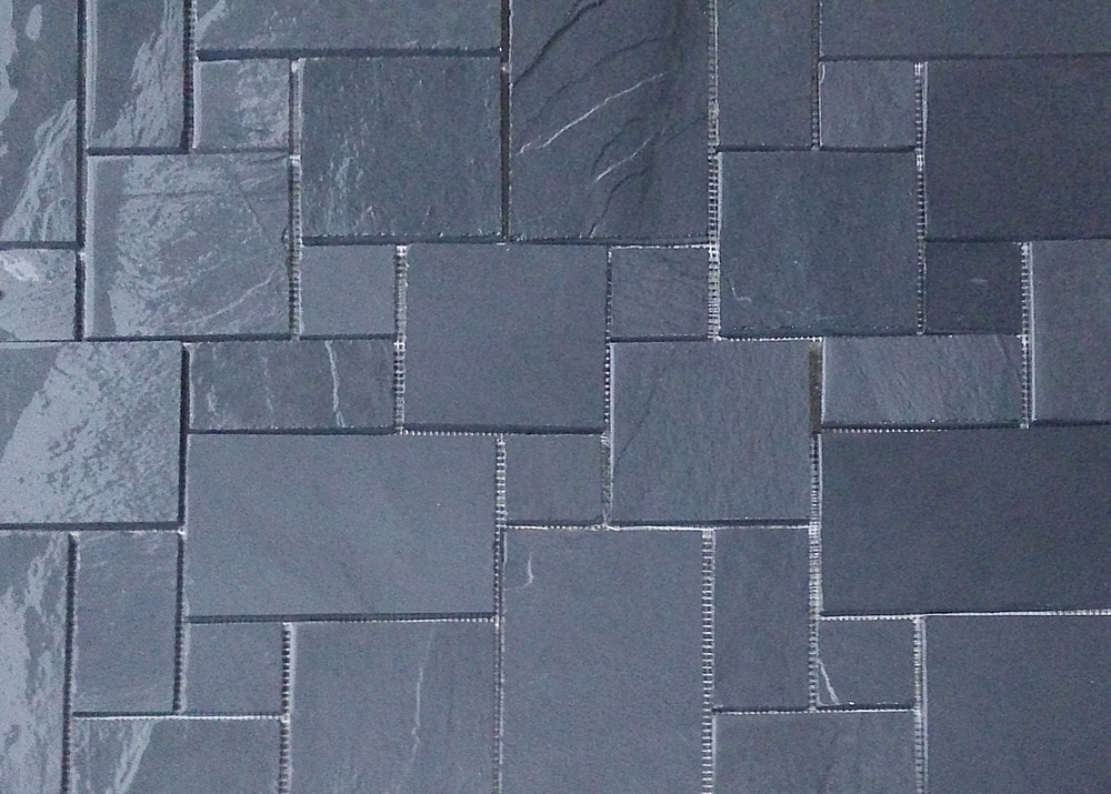 Black Slate Patter : Roterra slate tile meshed back patterns midnight black
