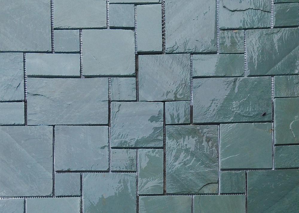 Roterra slate tile meshed back patterns jade green for Slate floor patterns
