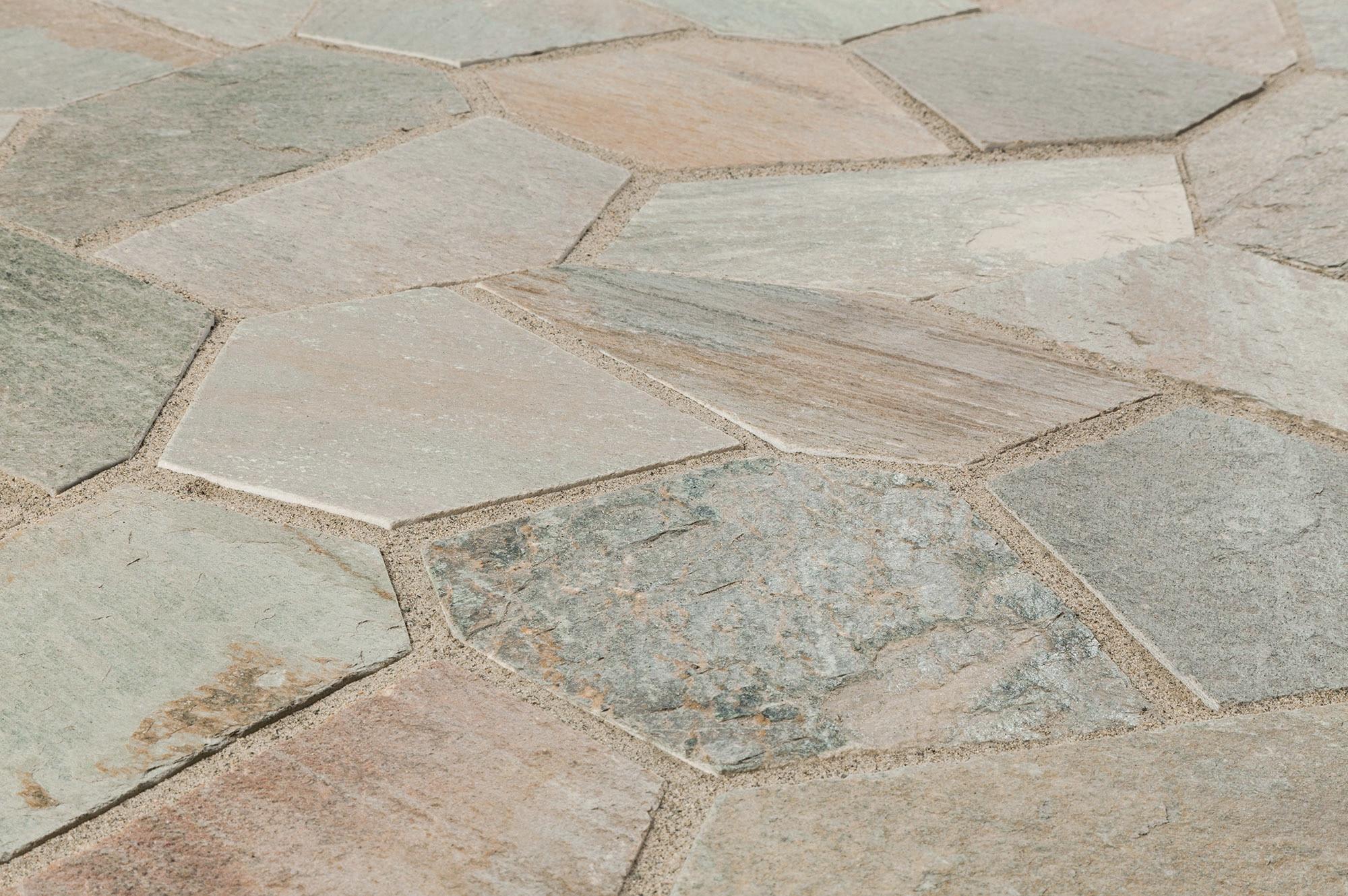 Roterra slate tile meshed back patterns golden white for Slate floor patterns