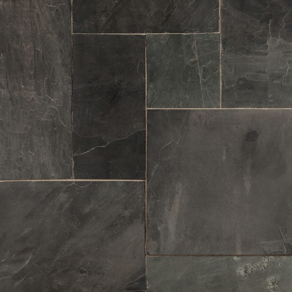 Black Slate Flooring: GSA Collection Indian Black / Versailles Pattern