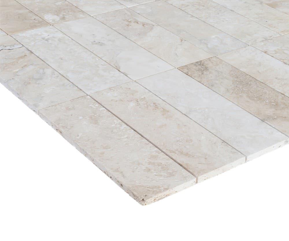 Ivory Light Honed Filled Travertine Tiles 18x18: Brushed Navona Light Ivory