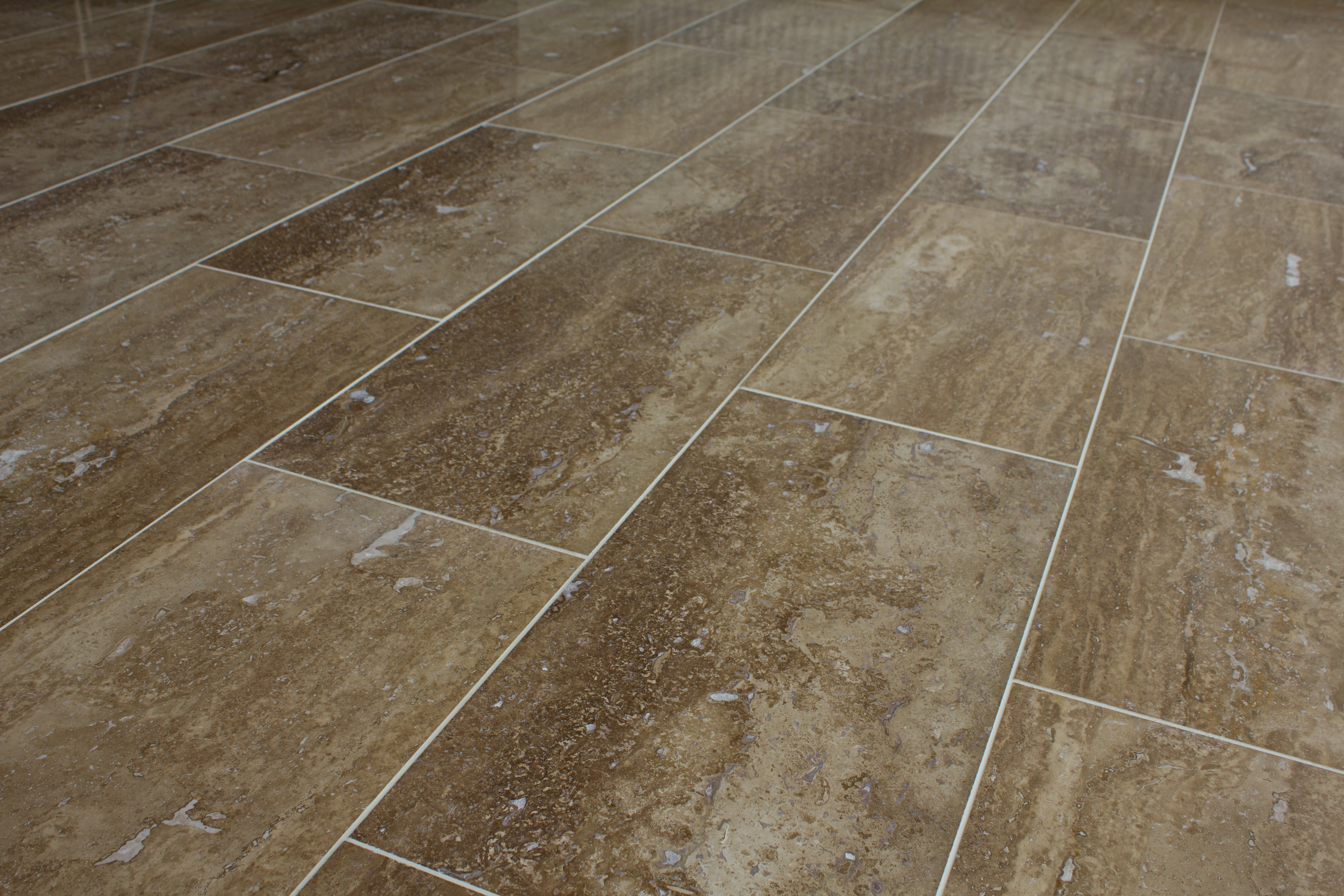 Kesir Travertine Tile Polished Noce Standard Vein Cut