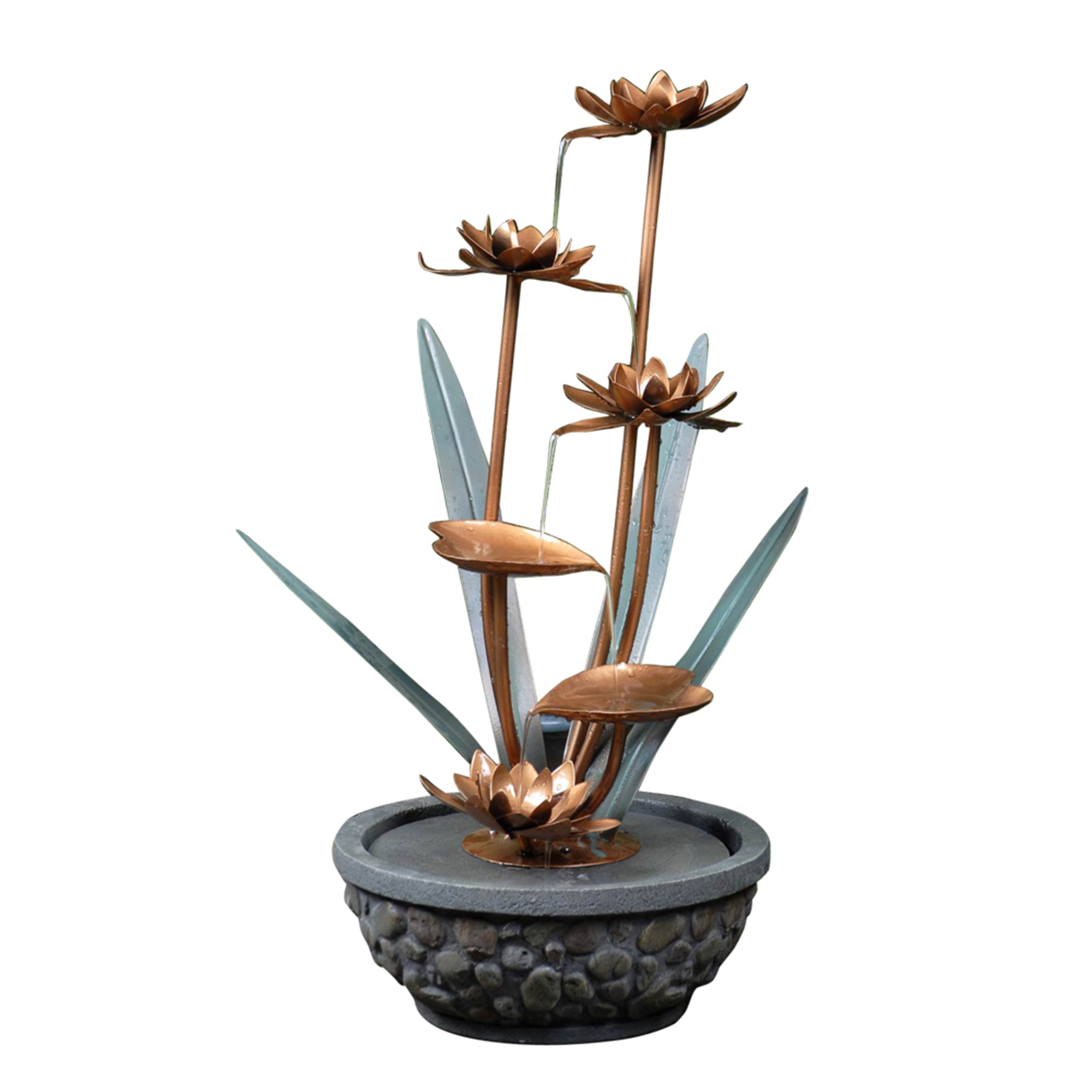 Kontiki water features decorative accent fountains metal for Ornamental garden features