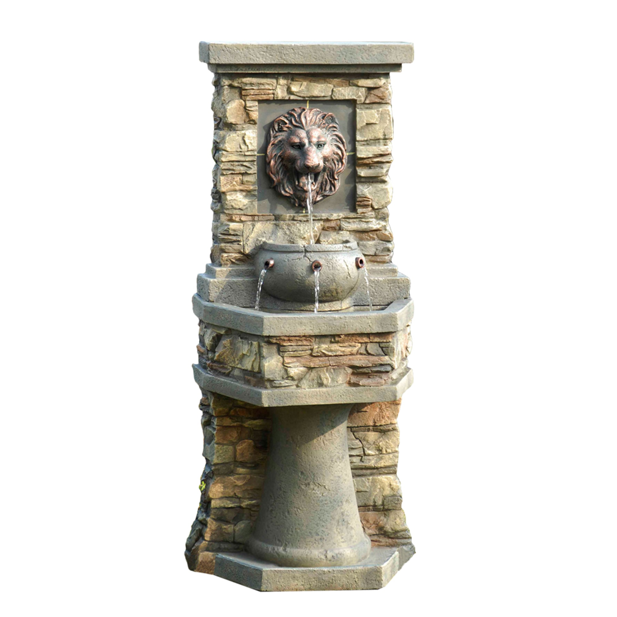Kontiki Water Features Faux Stone Fountains Lion Head