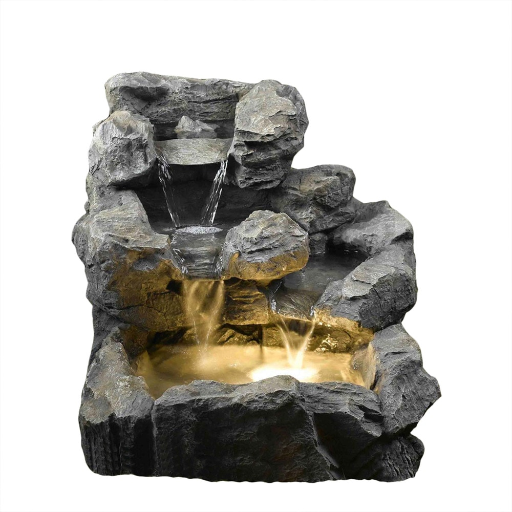 Kontiki Water Features Faux Stone Fountains Rock Creek Cascading Outdoor Indoor Fountain With