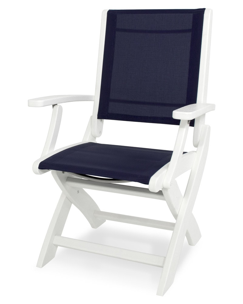 POLYWOOD Coastal Chair White Navy Blue Sling Folding