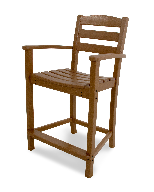 POLYWOOD® La Casa Café 1-Piece / Counter Arm Chair / Teak