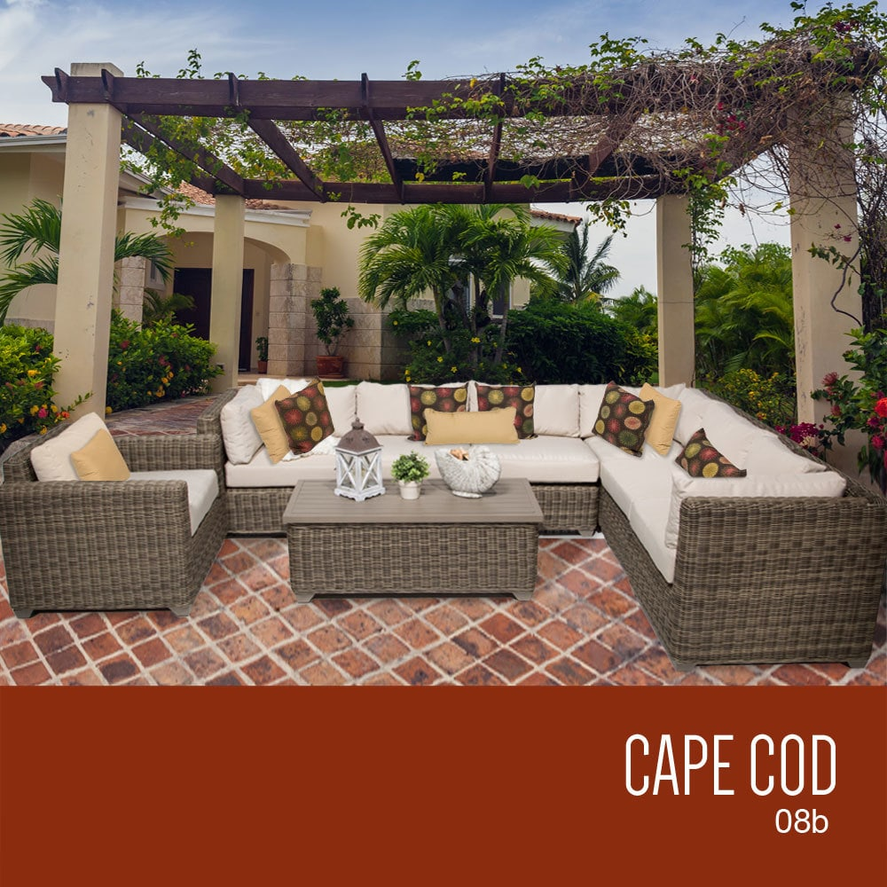 Tk Classics Cape Cod Collection Outdoor Wicker Patio Furniture Set 08b 8 Piece Beige