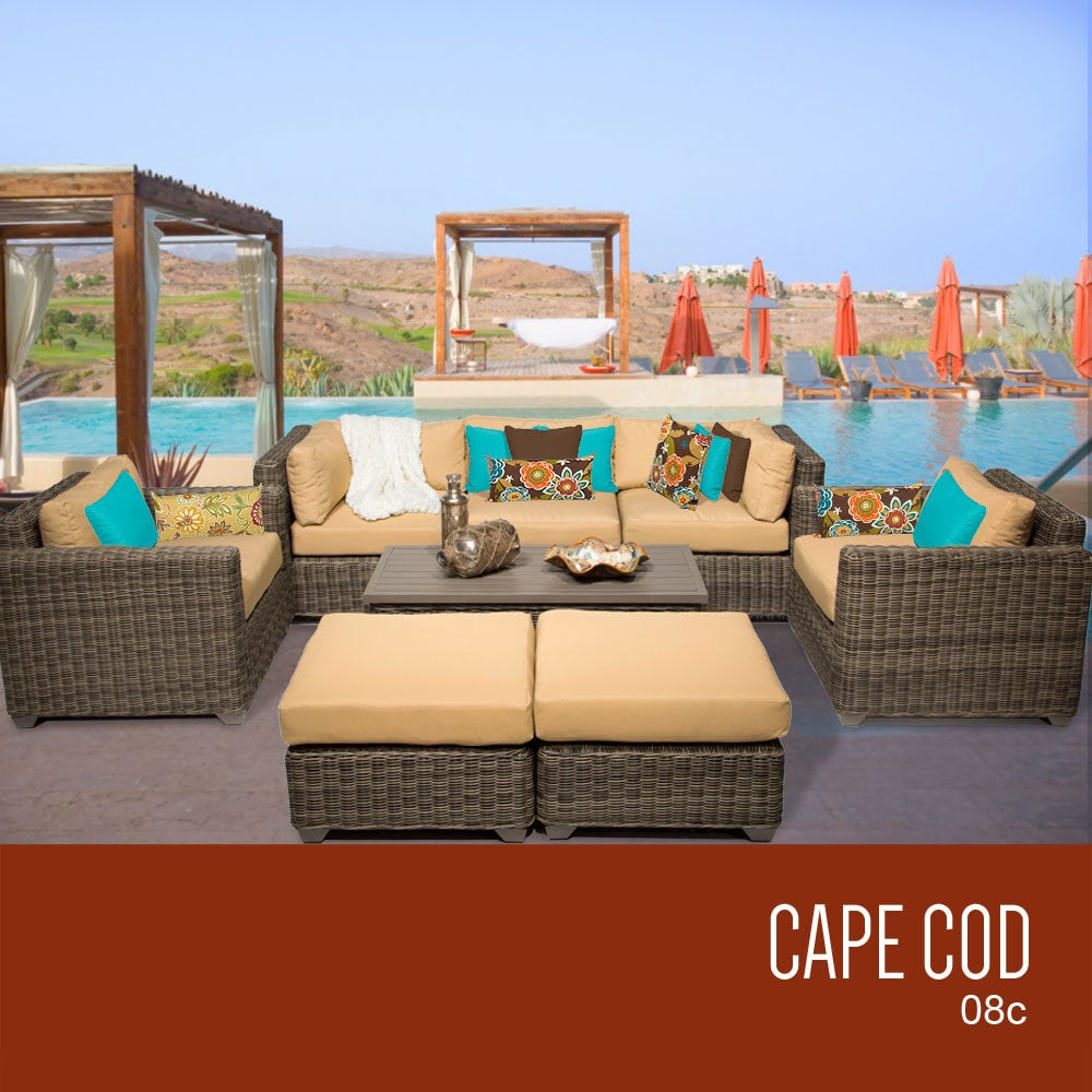 Tk Classics Cape Cod Collection Outdoor Wicker Patio Furniture Set 08c 8 Piece Sesame