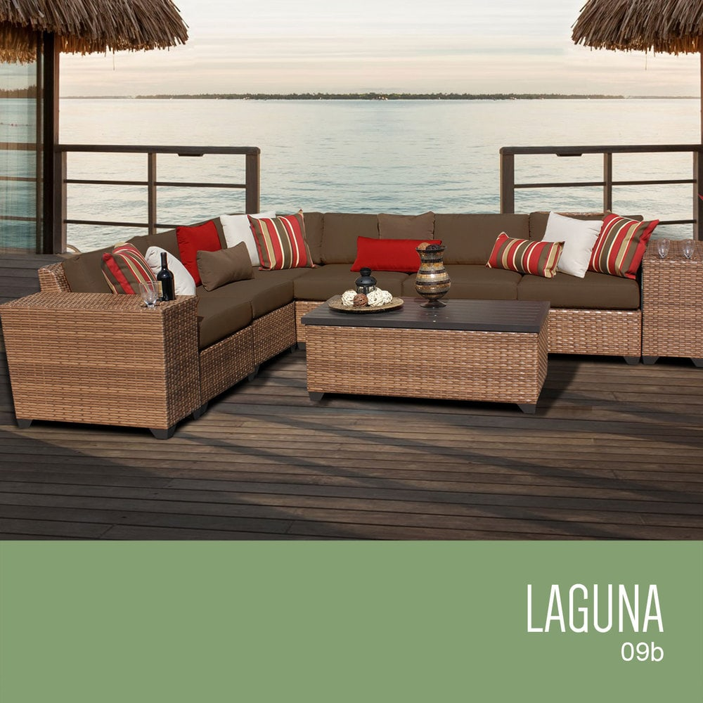 Tk classics laguna collection outdoor wicker patio for Outdoor furniture 9 piece