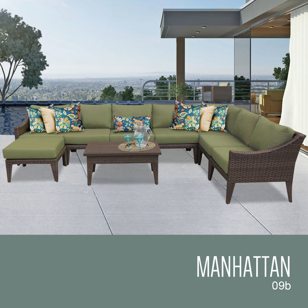Tk classics manhattan collection outdoor wicker patio for Outdoor furniture 9 piece