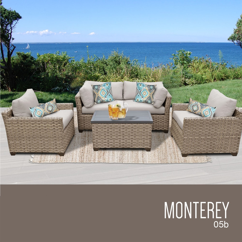 Tk Classics Monterey Collection Outdoor Wicker Patio Furniture Set 05b 5 Piece Original Beige