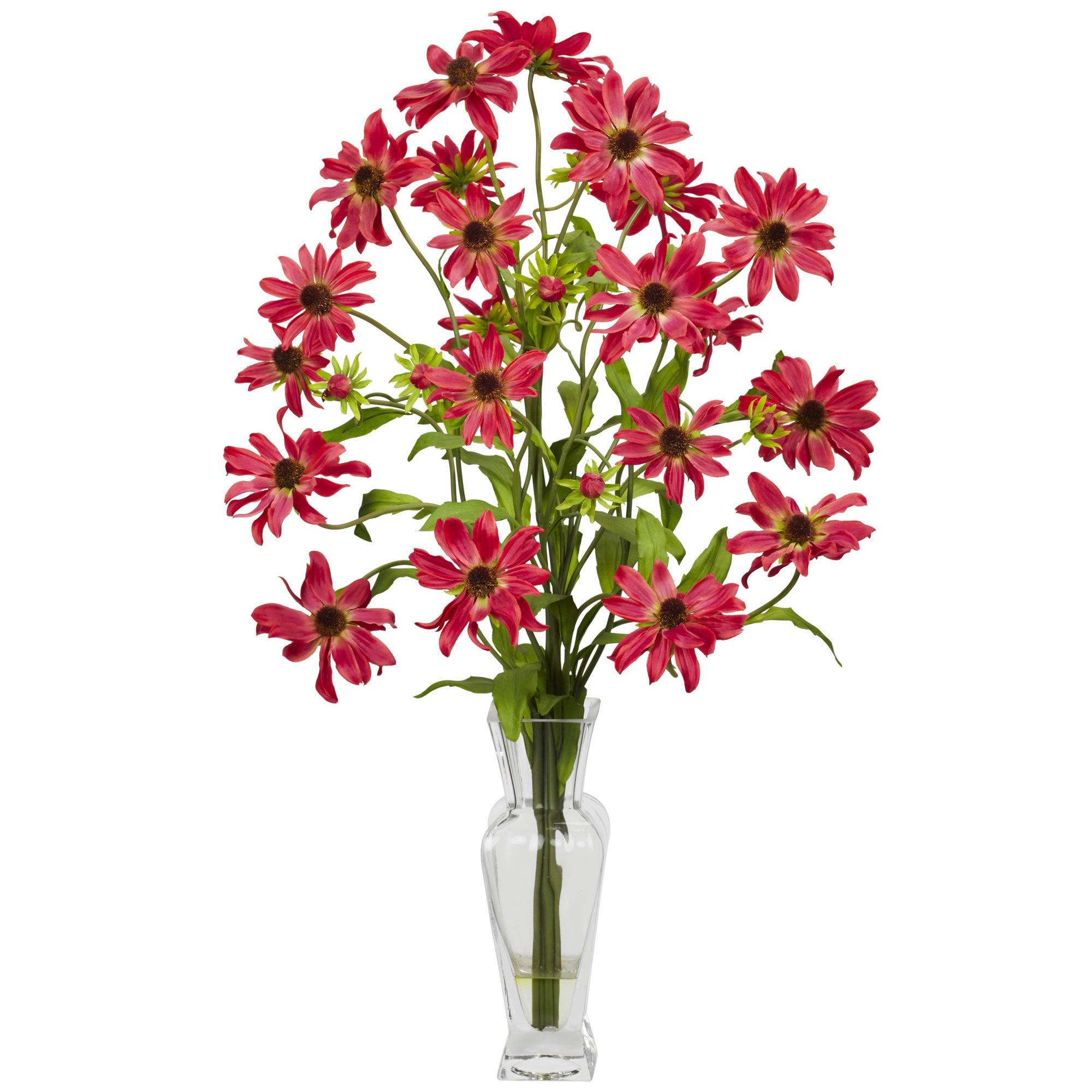 Nearly Natural - Cosmos w/Vase Silk Flower Arrangement 151822371