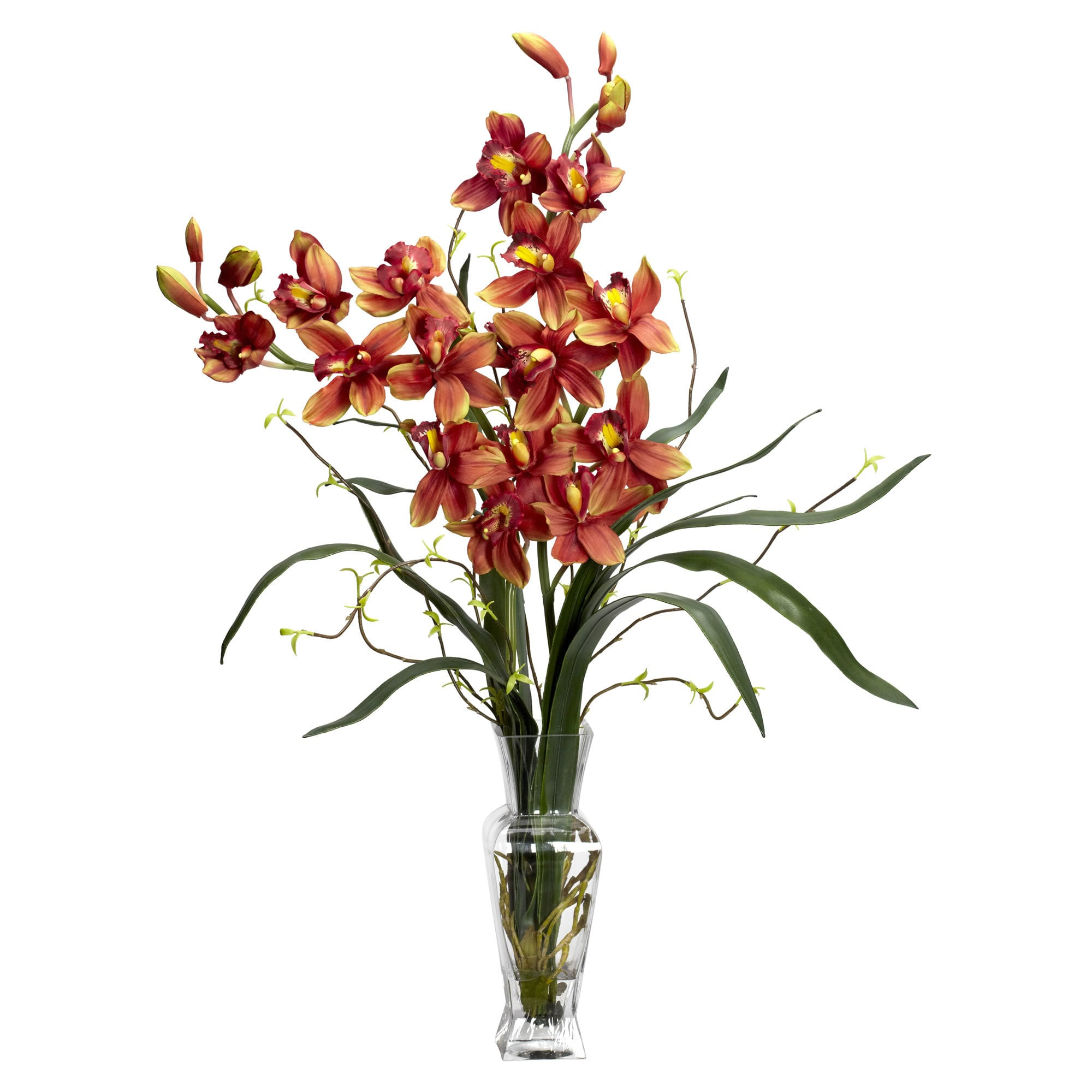 Nearly Natural - Cymbidium Silk Flower Arrangement 151822431