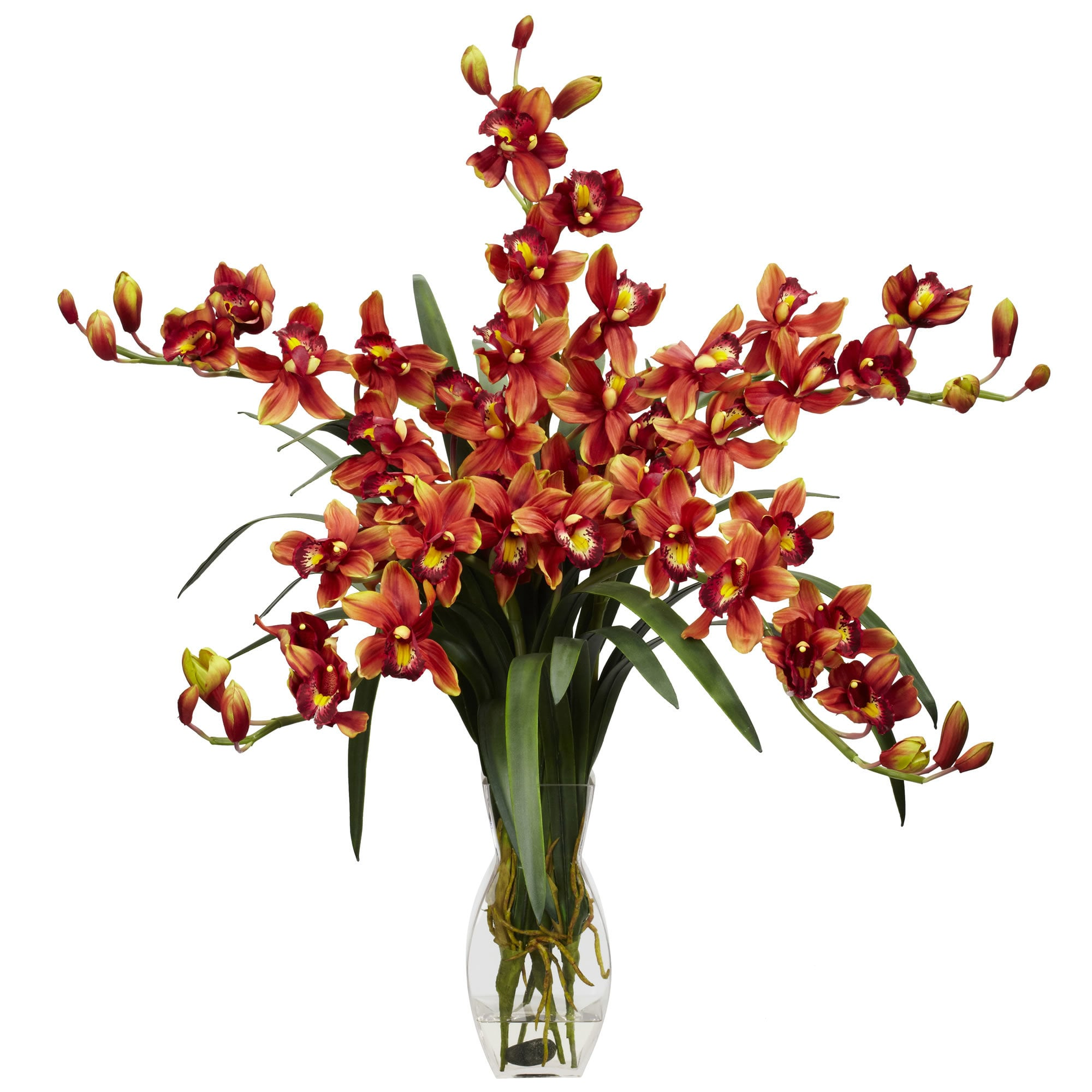 Nearly Natural - Cymbidium Orchid Silk Flower Arrangement 151822461