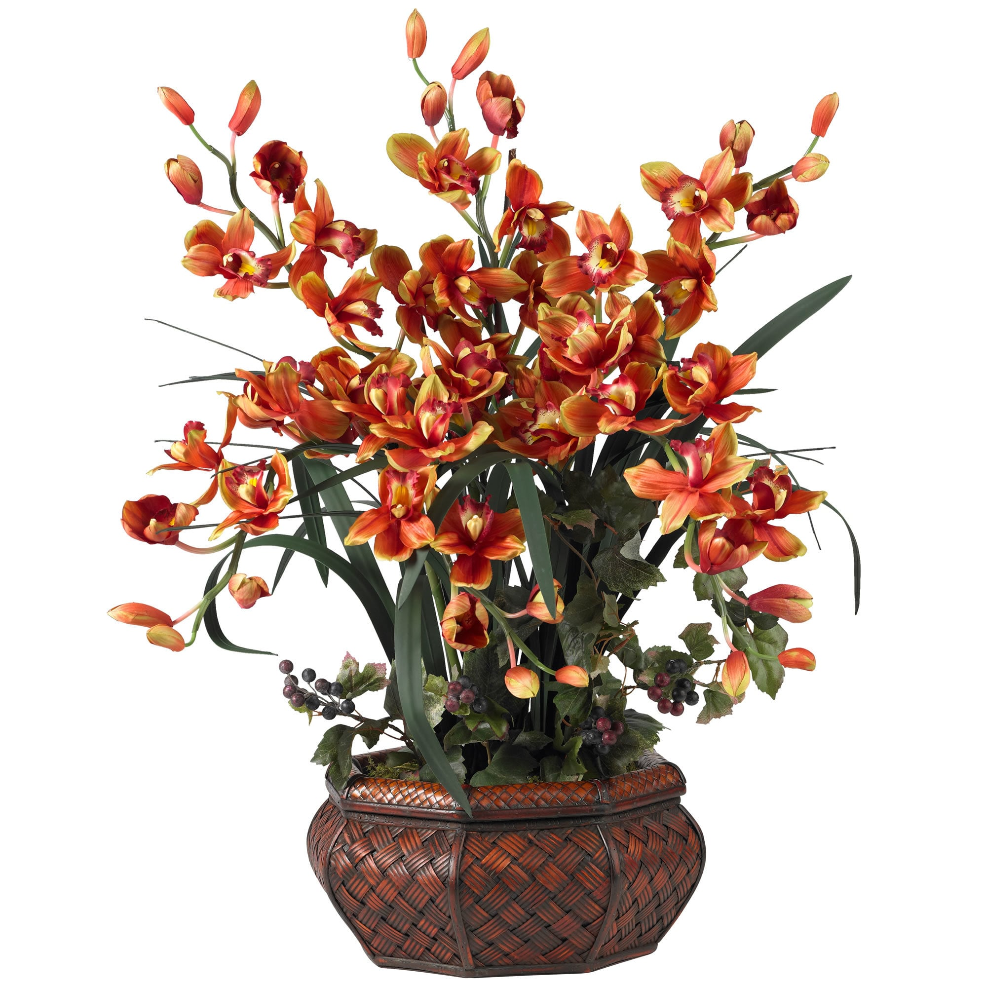 Nearly Natural - Large Cymbidium Silk Flower Arrangement 151822661