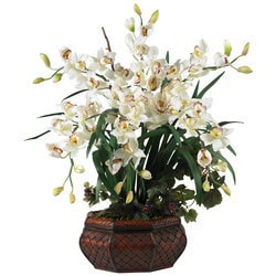Nearly Natural - Large Cymbidium Silk Flower Arrangement