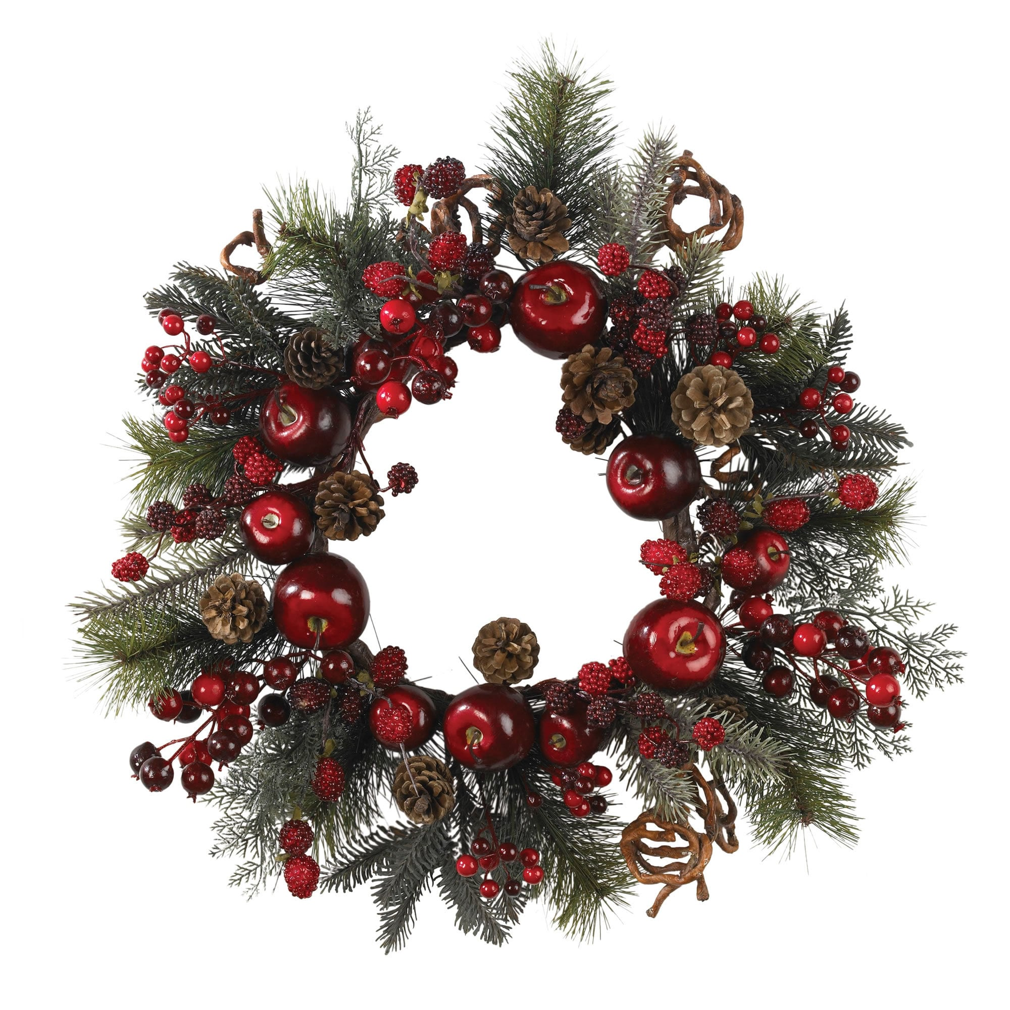 """Nearly Natural - 22"""" Apple Berry Wreath 151814851"""