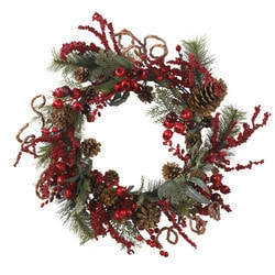"""Nearly Natural - 24"""" Assorted Berry Wreath"""
