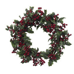 """Nearly Natural - 24"""" Holly Berry Wreath"""