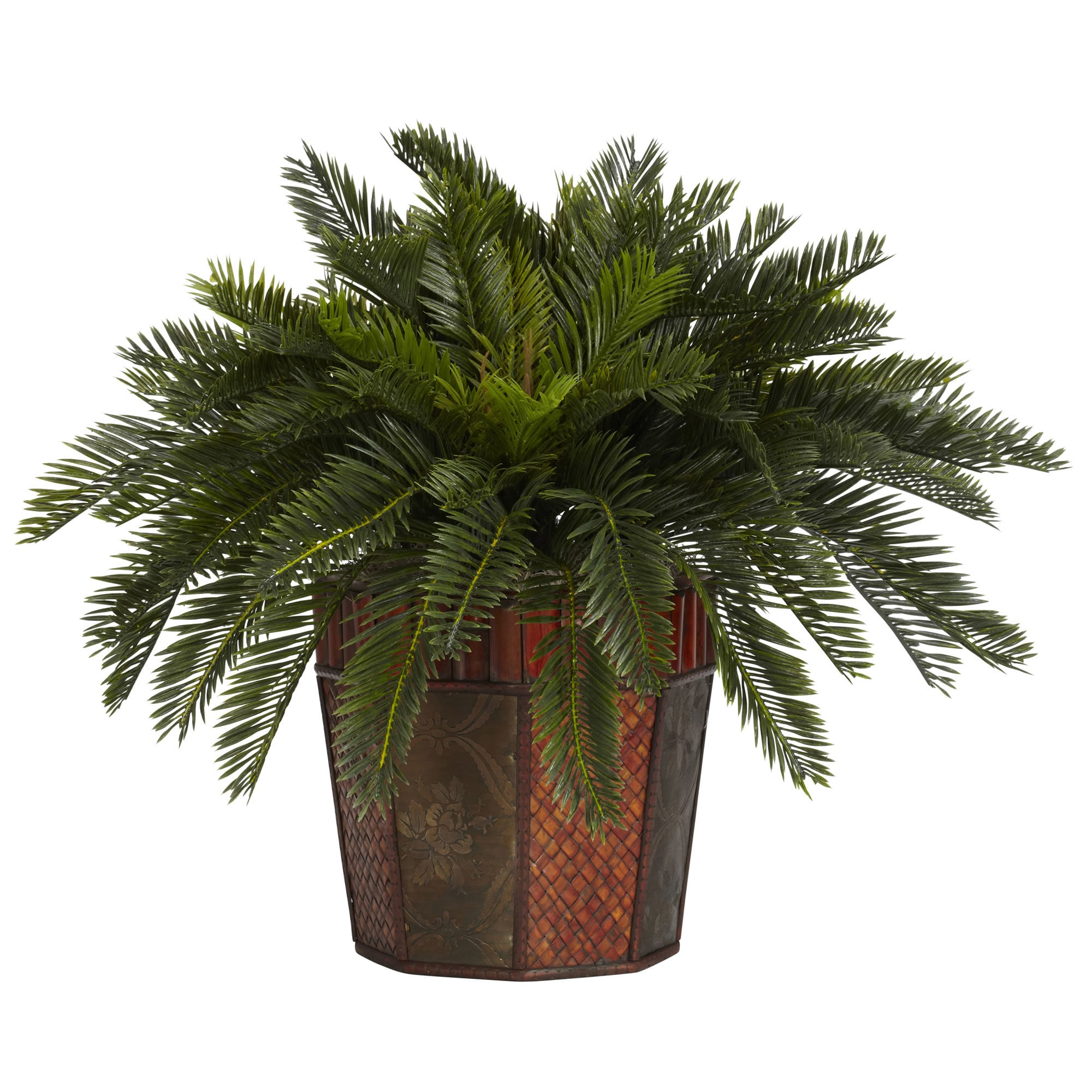 Nearly Natural - Cycas w/Octagon Vase Silk Plant 151819861