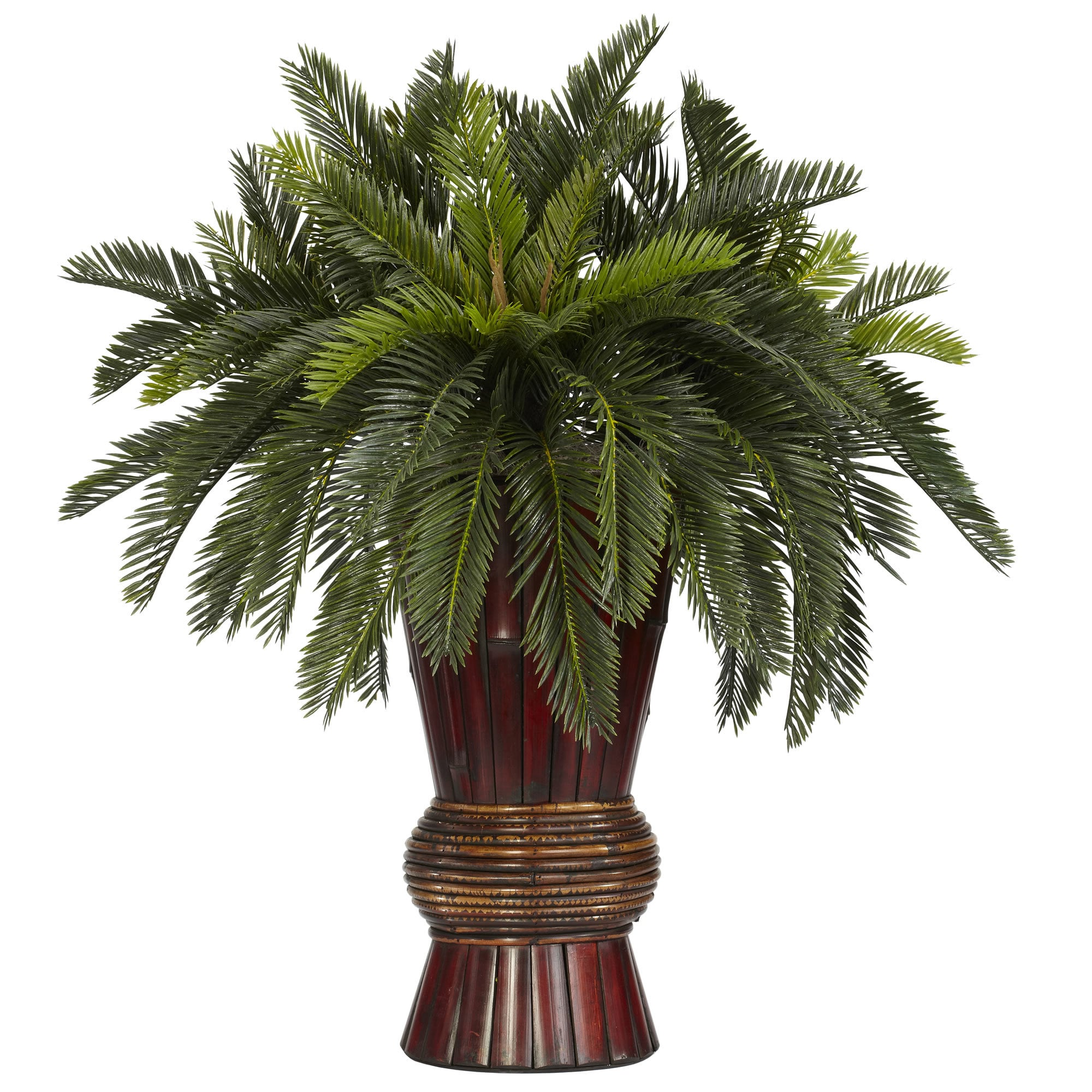 Nearly Natural - Cycas w/Bamboo Vase Silk Plant 151819871
