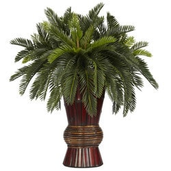 Nearly Natural - Cycas w/Bamboo Vase Silk Plant