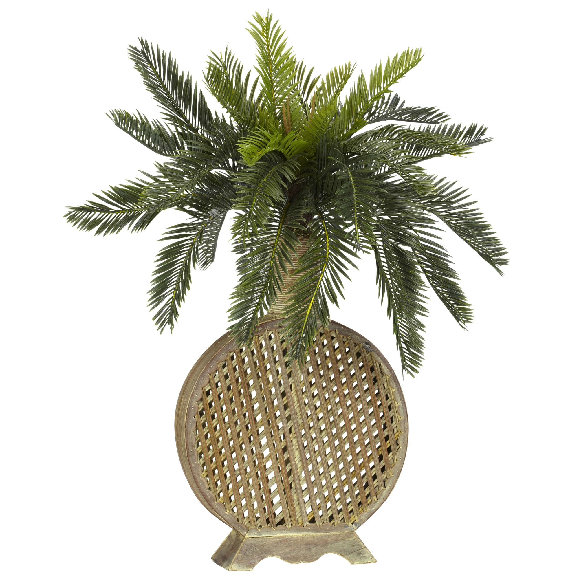 Nearly Natural - Cycas w/Decorative Vase Silk Plant 151819941