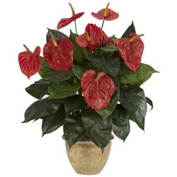 Nearly Natural - Anthurium w/Ceramic Vase Silk Plant