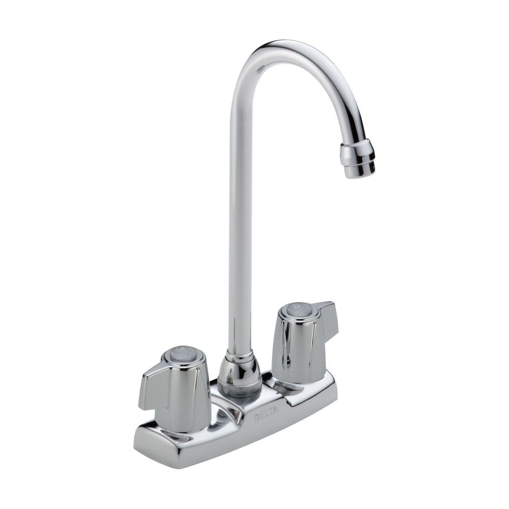 Delta Classic Two Handle High Arc Bar Faucet With Washerless Stem Valve Bar Faucet Chrome 2171lf