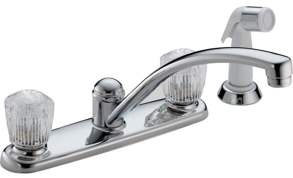 Delta classic two handle with side spray kitchen faucet for Kitchen faucet recommendations