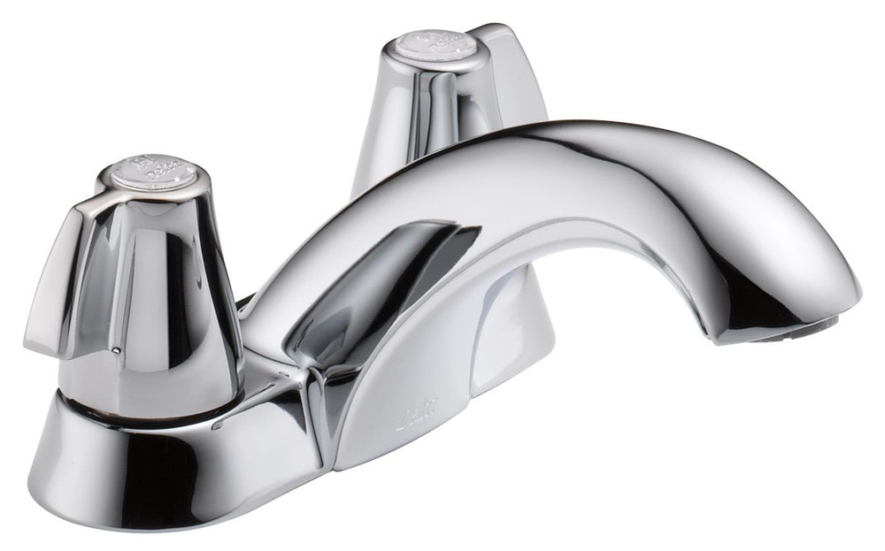 Delta Classic Double Handle Centerset Less Pop Up Drain Bathroom Faucet Chrome 2500lf