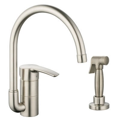 grohe eurostyle high arch kitchen faucet with starlight silkmove kitchen faucet brushed. Black Bedroom Furniture Sets. Home Design Ideas
