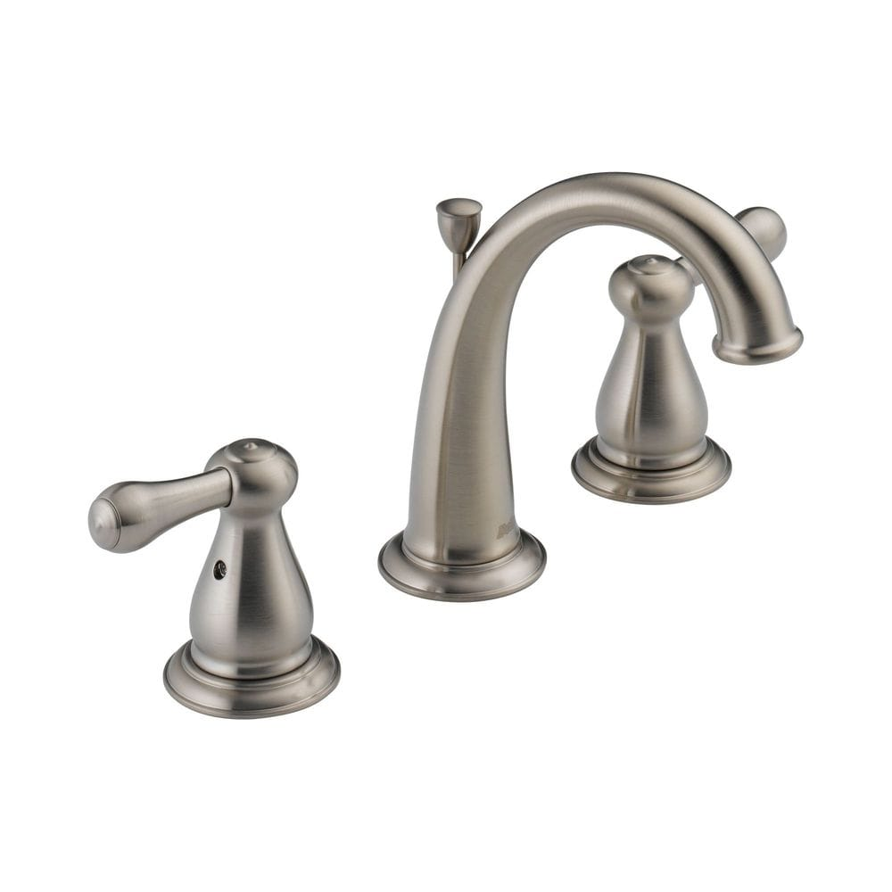 Delta leland double handle widespread with washerless valve and pop up bathroom faucet for Delta widespread bathroom faucet
