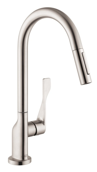 hansgrohe optik axor citterio 2 spray high arc pull down kitchen faucet kitchen faucet steel. Black Bedroom Furniture Sets. Home Design Ideas
