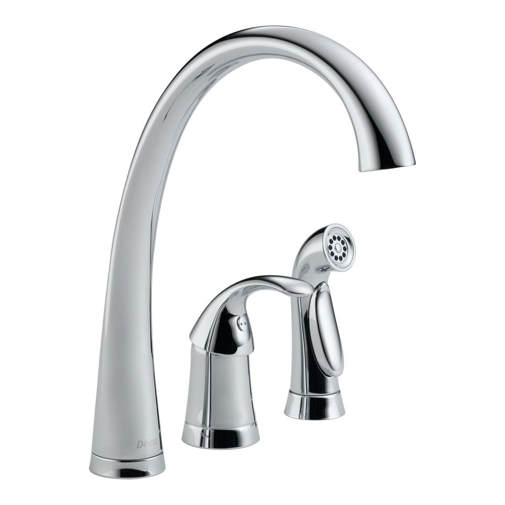 Delta pilar single handle widespread high arc with side for Kitchen faucet recommendations