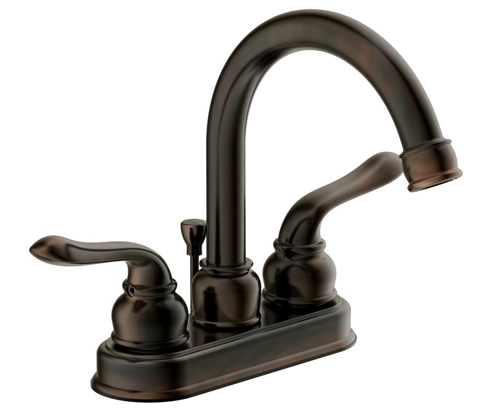 Estora Aviano High Arc Double Handle 4 Centerset With Pop Up Drain Bathroom Faucet Brushed