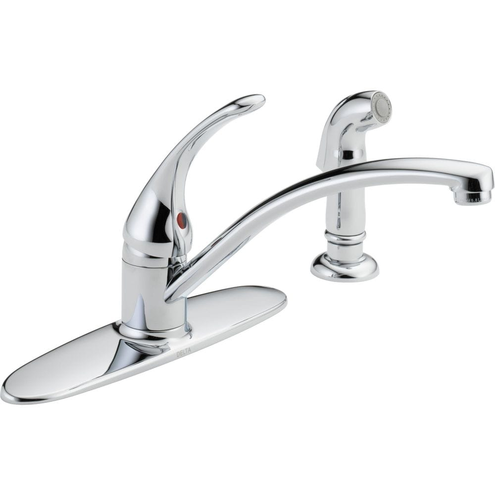 Delta foundations high arc two handle 8 centerset with for Kitchen faucet recommendations