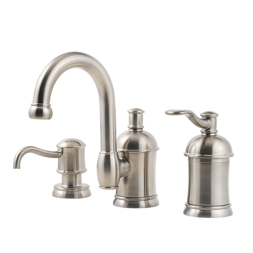 pfister amherst single handle widespread with soap dispenser bathroom faucet brushed nickel