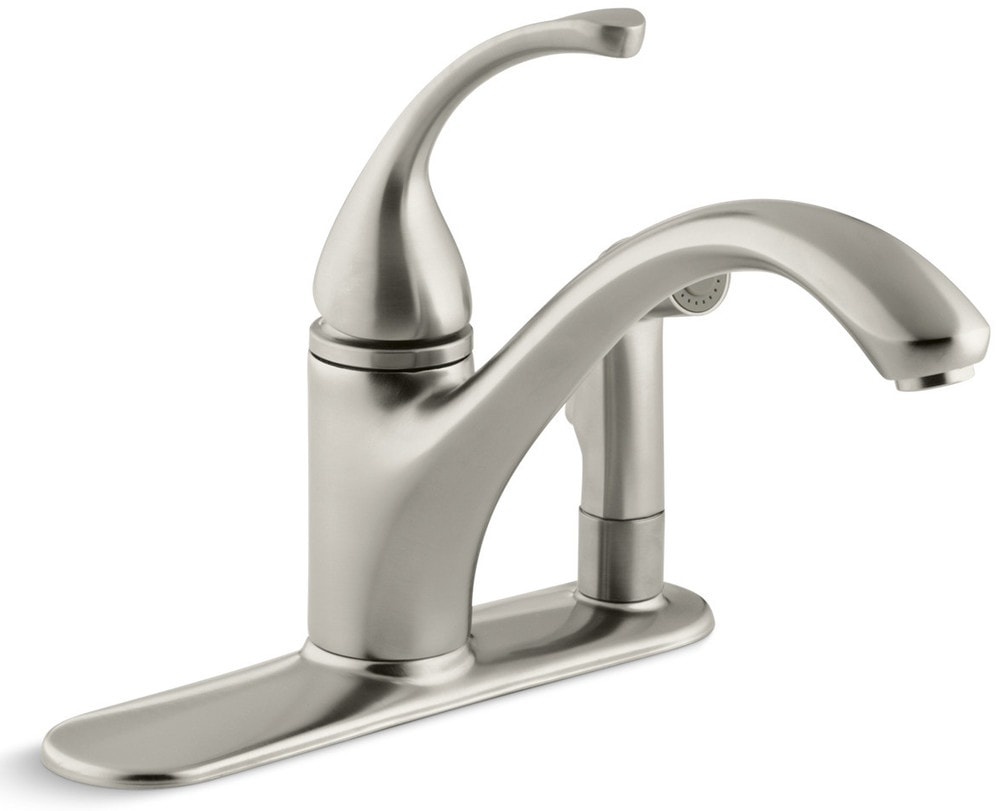 Kohler Forte Single Handle Pullout With Sidespray Kitchen Faucet Brushed Nickel K 10413 Bn