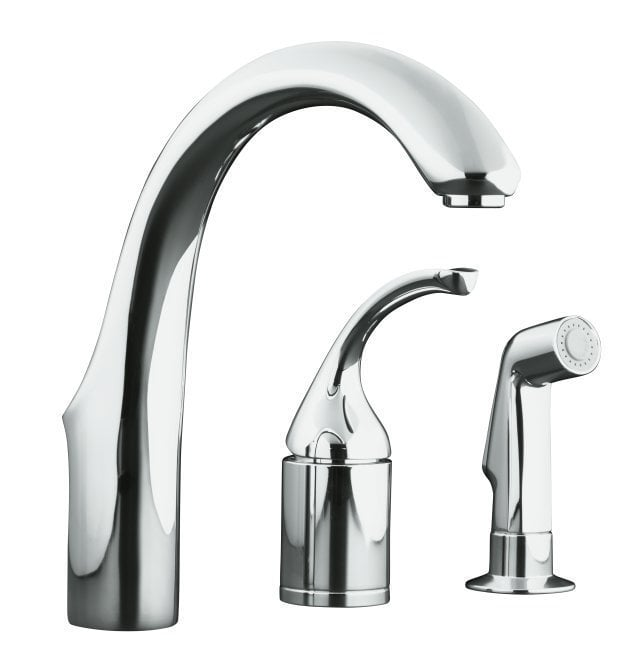 Kohler forte single handle bar faucet with sidespray bar for Kitchen faucet recommendations
