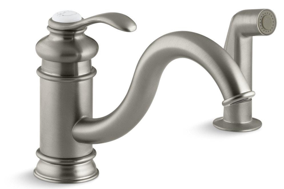 Kohler Fairfax Single Handle With Sidespray Kitchen Faucet Brushed Nickel K 12176 Bn