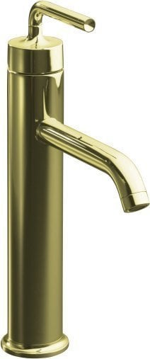 Kohler purist single handle with touch activated drain bathroom faucet french gold ii k for French style bathroom faucets