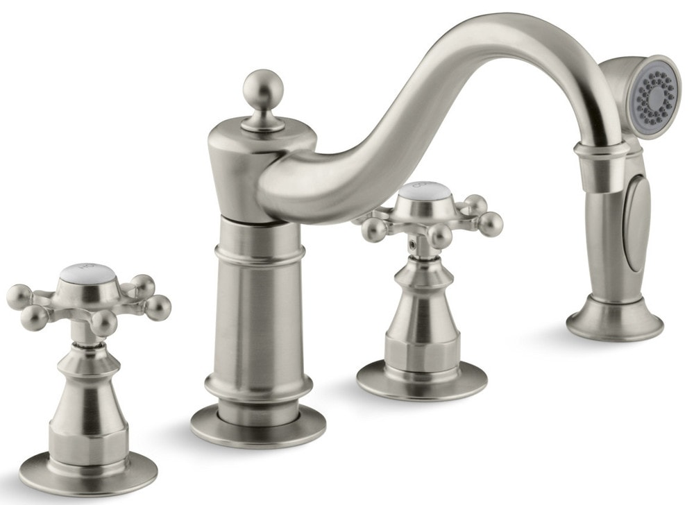 Kohler Antique Double Handle With Metal Cross Handles And Side Spray Kitchen Faucet Brushed