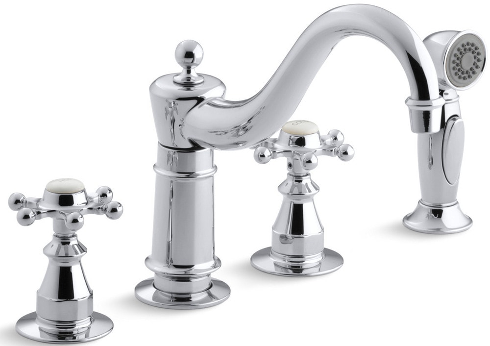 Kohler Antique Double Handle With Metal Cross Handles And Side Spray Kitchen Faucet Polished