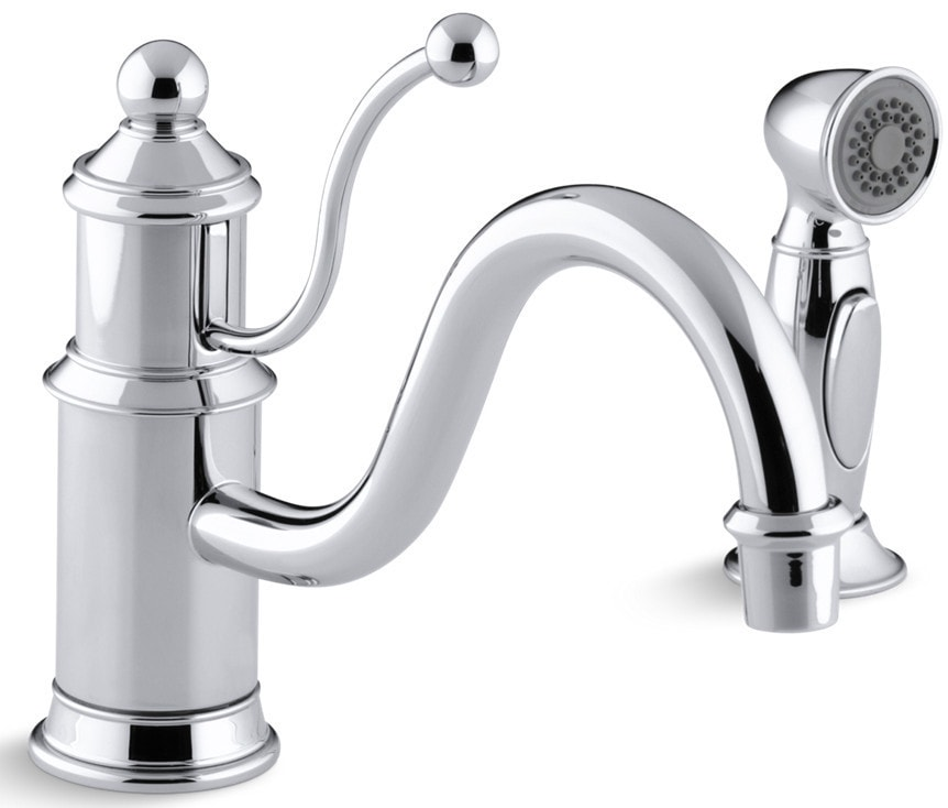 Kohler antique single handle with side spray kitchen for Kitchen faucet recommendations