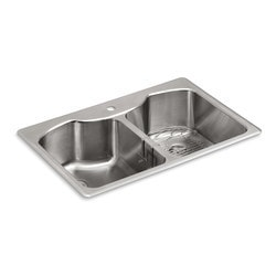 "Kohler Octave 33"" Double Equal Basin Top Mount Undermount w/Single Hole Model 150828221 Kitchen Sinks"