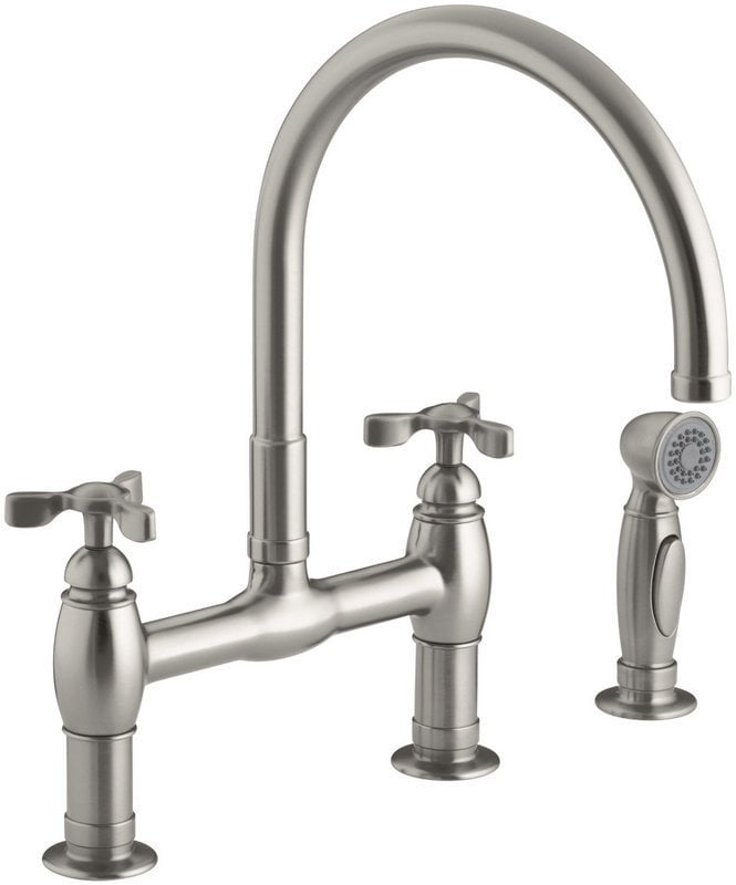 Kohler parq two handle deck mounted bridge with sidespray for Kitchen faucet recommendations